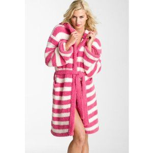 Barefoot Dreams CozyChic Stripe Hooded Pink Robe